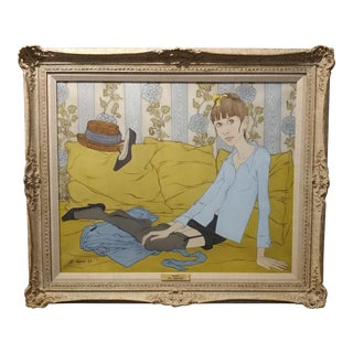 1969 Philippe Noyer Girl on the Sofa Oil Painting