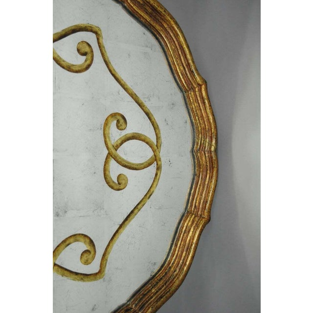 Metal Louis XVI Black & Gold Tassel and Églomisé Mirror Top Coffee Table For Sale - Image 7 of 11
