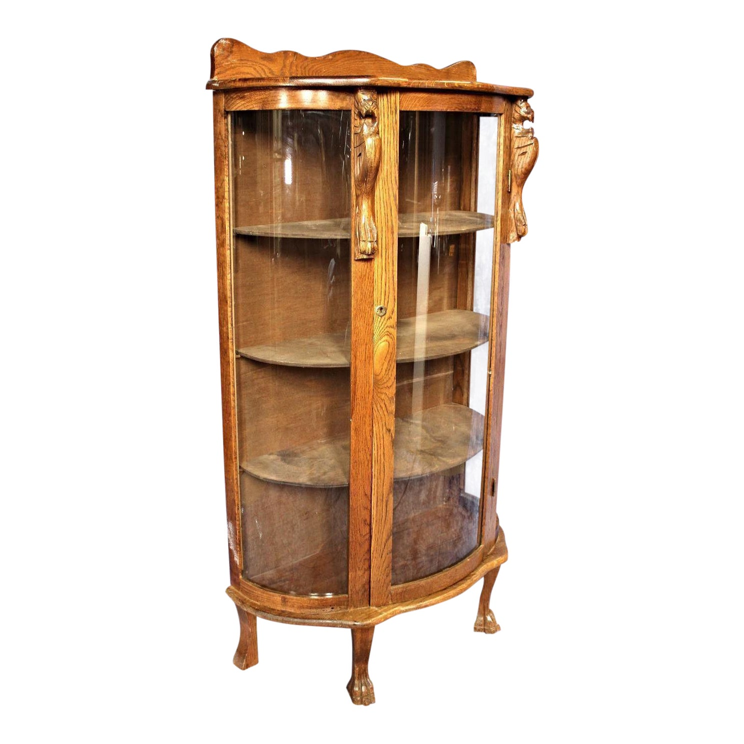 China Curio: Antique Oak Curved Curio Display China Cabinet, 1900s