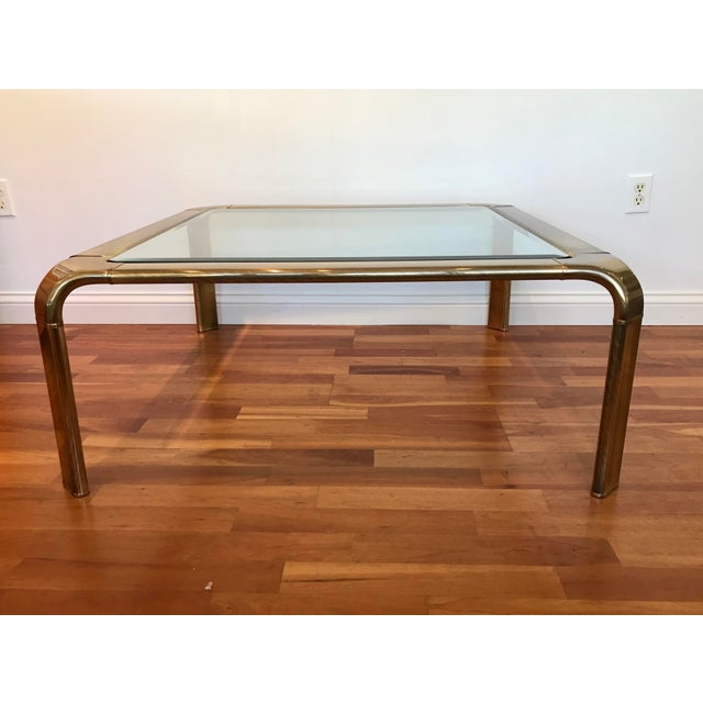 Metal 1970s Modern Mastercraft for Baker Brass Glass Cocktail Coffee Table John Widdicomb For Sale - Image 7 of 7
