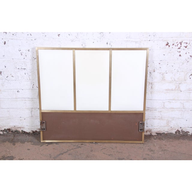 White Paul McCobb for Calvin Furniture Brass and Naugahyde Twin Size Headboard For Sale - Image 8 of 8