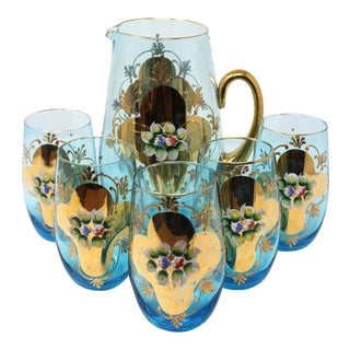 Vintage Enameled Venetian Glassware Set - Set of 6 For Sale