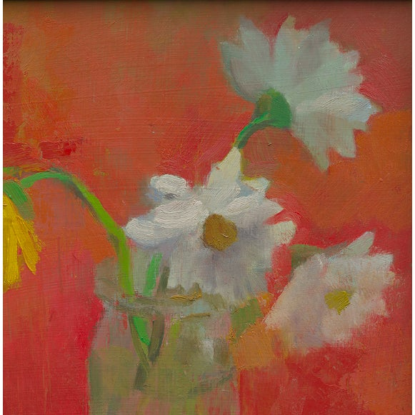 """""""Four Daisies"""" is a contemporary print by artist Amy Griffith. The piece depicts daisies in a vase against an orange red..."""