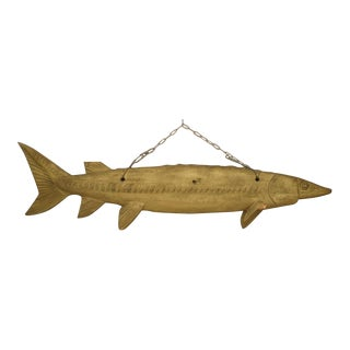 Monumental Rustic Wooden Fish For Sale