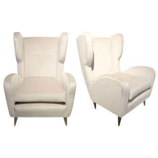 Paolo Buffa - Pair of Italian Armchairs in Velvet Mohair and Wood, Circa 1950