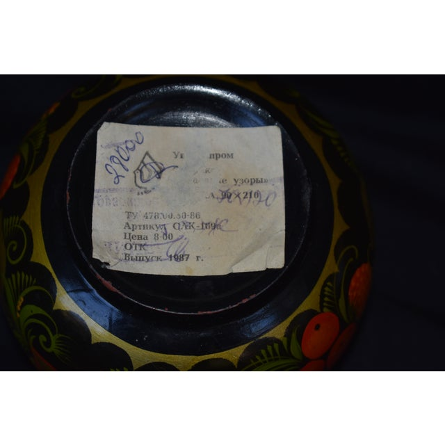 Hand Painted Russian Wooden Bowl For Sale - Image 4 of 5