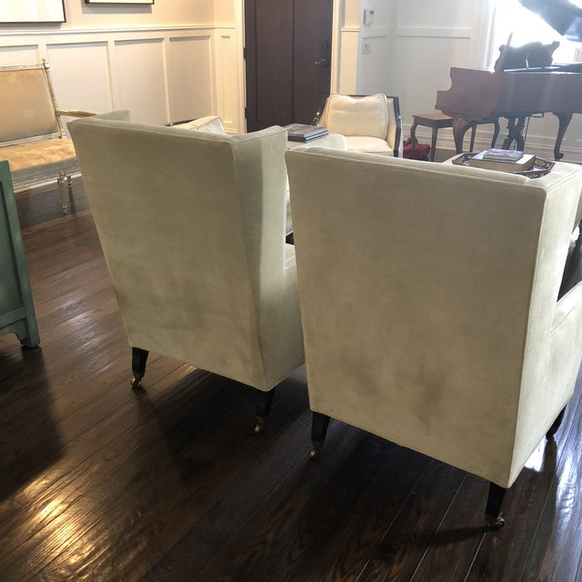 2000s Windsor Smith Corduroy Celadon and Beige Wingback Chairs - a Pair For Sale - Image 5 of 7