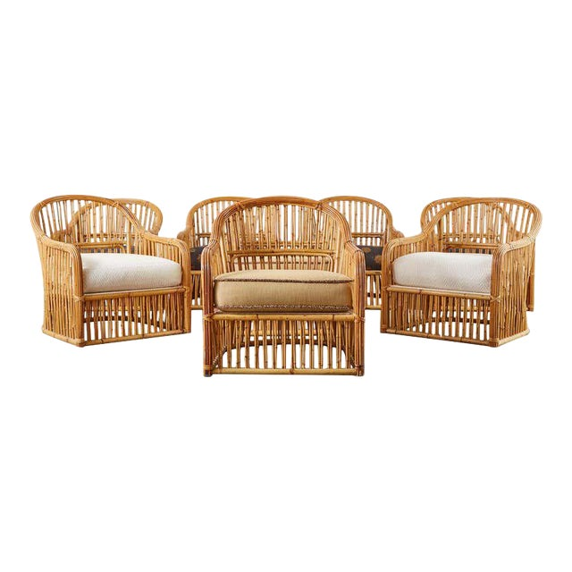 Set of Eight Michael Taylor Organic Modern Bamboo Lounge Chairs For Sale
