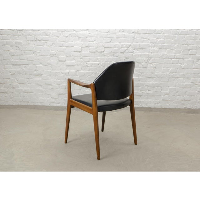 1960s Mid-Century Scandinavian Design Teak Wood and Leather Side / Desk Chair, 1960s For Sale - Image 5 of 11