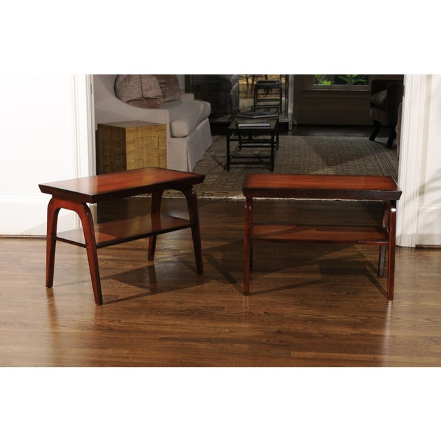 Mid-Century Modern 1954 Restored Pair of End Tables by John Wisner for Ficks Reed For Sale - Image 3 of 13