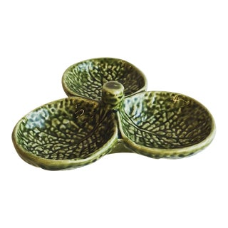Vintage Secla Cabbage Green 3-Part Relish Dish For Sale