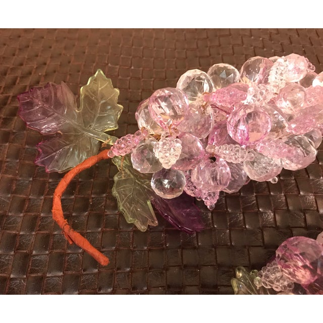 Pink & Clear Faceted Lucite Grapes - A Pair - Image 8 of 9
