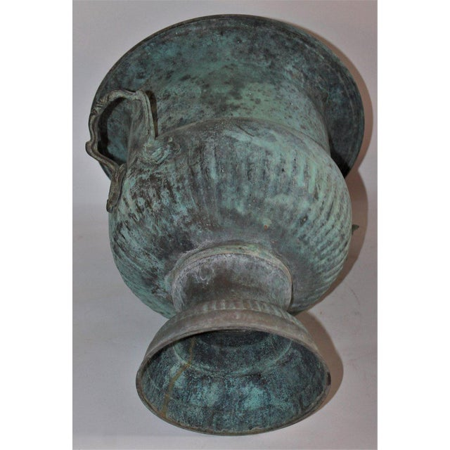 19th Century Patinated Copper Urn With Handles For Sale - Image 4 of 7