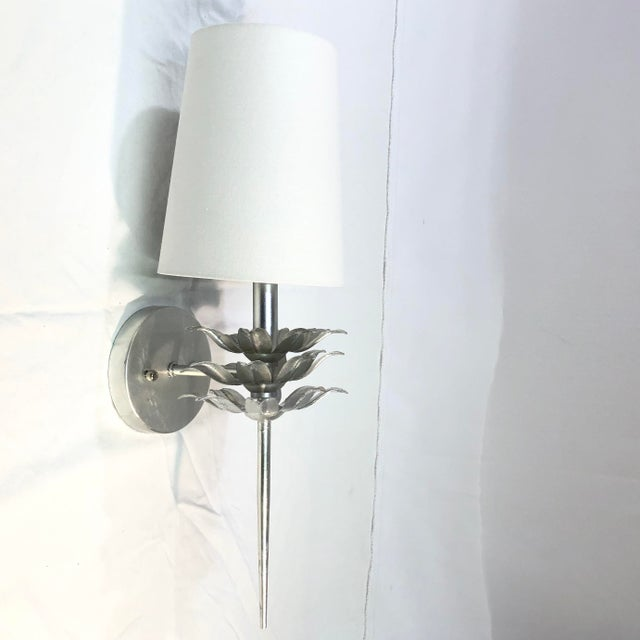 Worlds Away Delilah Silver Leaf One Arm Wall Sconce For Sale - Image 11 of 11