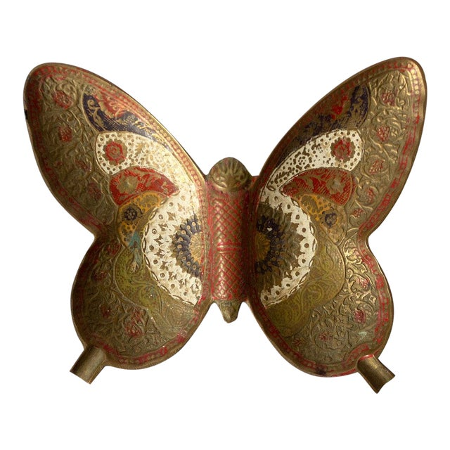 Painted Brass Butterfly Trinket Dish For Sale