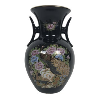 1970s Vintage Black Japanese Hand-Painted Vase For Sale