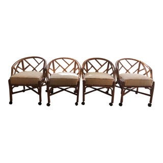 Vintage Rattan Chippendale Style Henry Link Chairs- Set of 4 For Sale