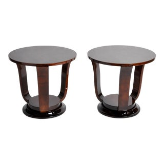 Hungarian Walnut Veneer Round Side Tables- A Pair For Sale