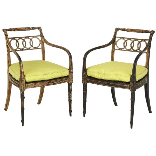 Pair of English Regency Painted and Parcel-Gilt Side Chairs For Sale
