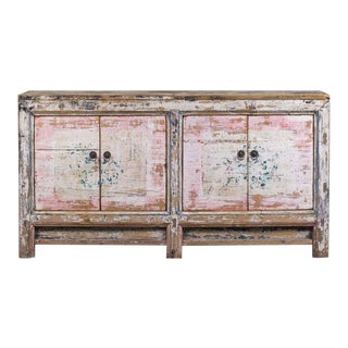 Vintage Chinese Painted Buffet Pink Black Circa 1940