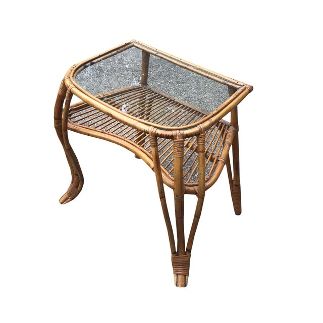 Vintage Boho Chic Rattan and Bamboo Side Table For Sale - Image 4 of 4