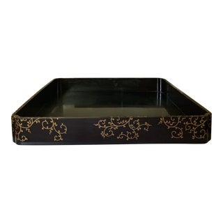 Large Vintage Chinese Black and Gold Lacquered Trays For Sale