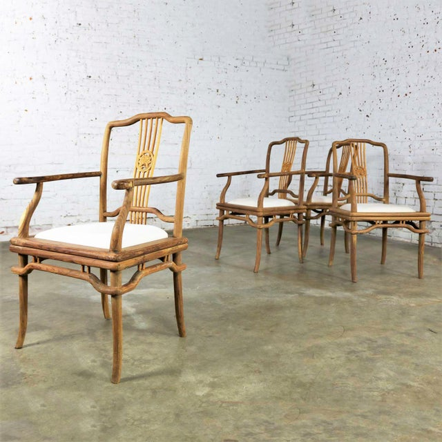Late 20th Century Set of Four Natural Teak Indonesian Ming Style Dining Armed Chairs With Upholstered Seats For Sale - Image 5 of 13