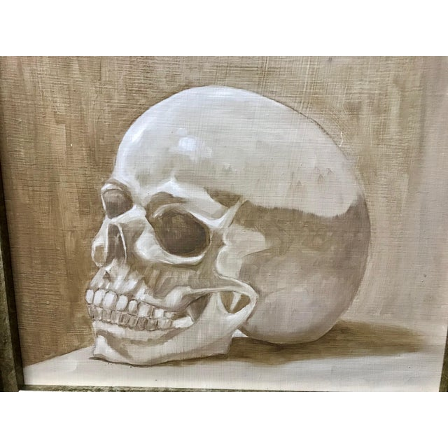 Gothic 1970s Vintage Original Framed Skull Oil Painting For Sale - Image 3 of 5