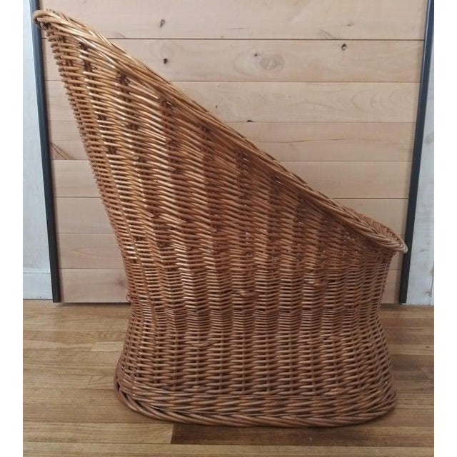 Boho Chic Vintage Wicker Pod Chair For Sale - Image 3 of 4