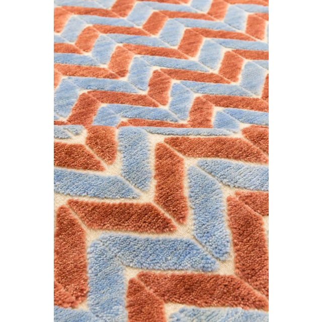 Contemporary Solo Rugs Grit and Ground Collection Contemporary Pogo Orange Hand-Knotted Area Rug, Blue, 6' X 9' For Sale - Image 3 of 4