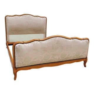 Vintage Upholstered French Bedframe For Sale