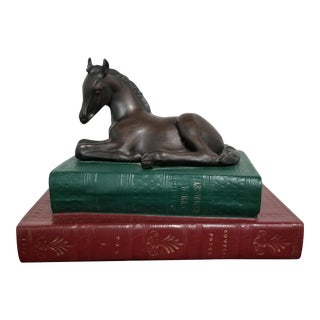 Bronze Hand-Cast Resin Foal and Books Sculpture For Sale