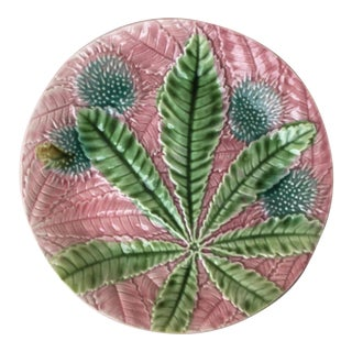 1880 Antique Salins Majolica Chestnut Leaves Plate For Sale