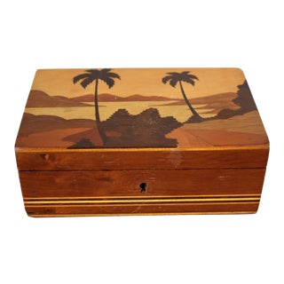 1970s Vintage Marquetry Box For Sale