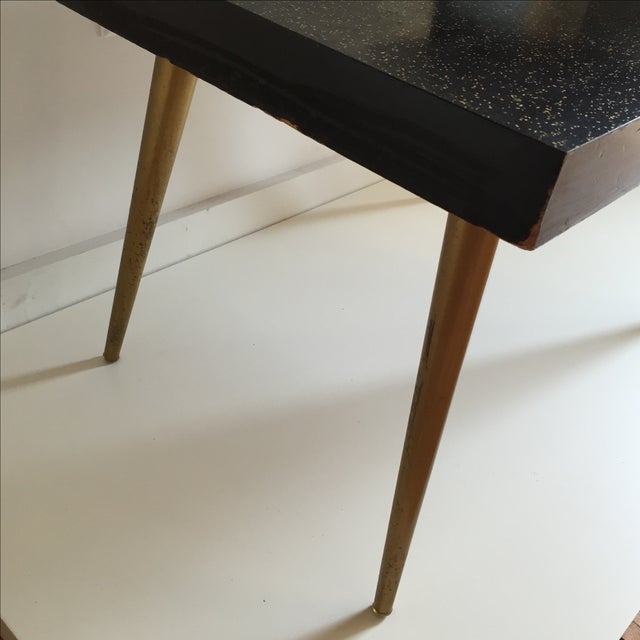 Mid-Century Black & Gold Starburst Side Table For Sale - Image 5 of 9