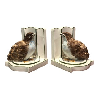 Italian Quail Bookends - a Pair For Sale
