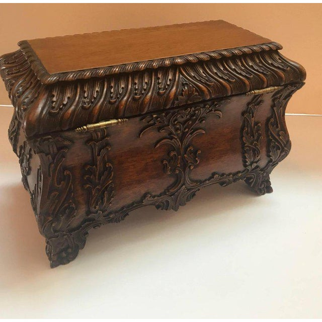 1990s 1990s Maitland-Smith Carved Mahogany Hinged Tea Caddy Box For Sale - Image 5 of 13