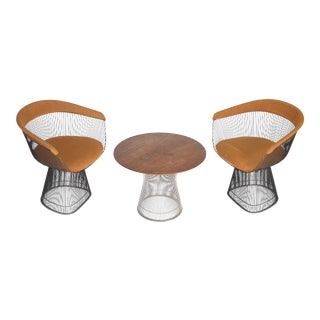 Vintage Knoll Warren Planter Armchairs and Side Table Set For Sale