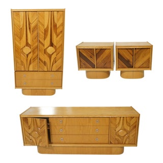 Modernist Relieved Wood Bedroom Set