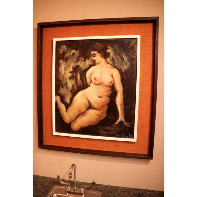 Very unique original nude oil piece. The artwork is set in almost a shadowbox like fashion. Artist unknown.