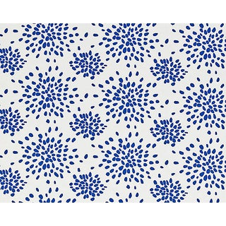 Hinson for the House of Scalamandre Fireworks Fabric in Blue on White For Sale