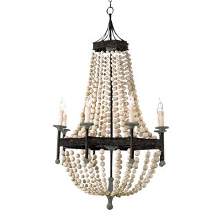 Wood Beaded Chandelier For Sale