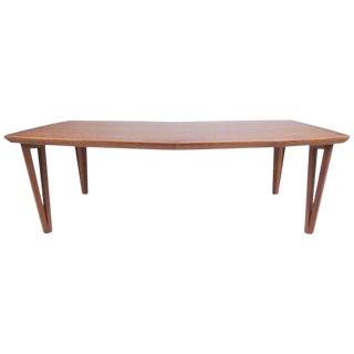 Scandinavian Modern Teak Coffee Table With Hairpin Legs For Sale