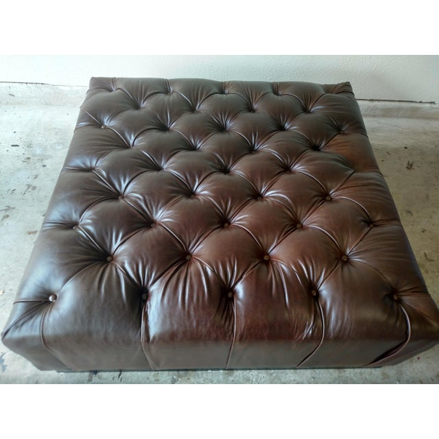 Gambrell Renard Tufted Esspresso Leather Ottoman - Image 3 of 4