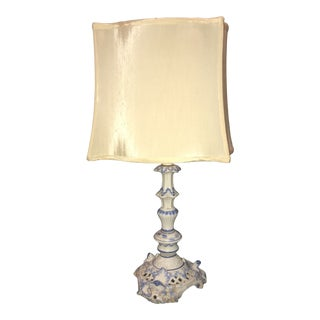 Vintage 1950s Delft Hand Painted Table Lamp For Sale