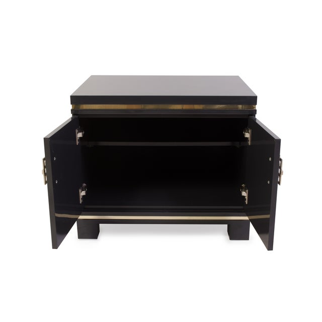 Mid-Century Grey Lacquer & Brass Greek Key Pulls Nightstands - Pair - Image 6 of 7