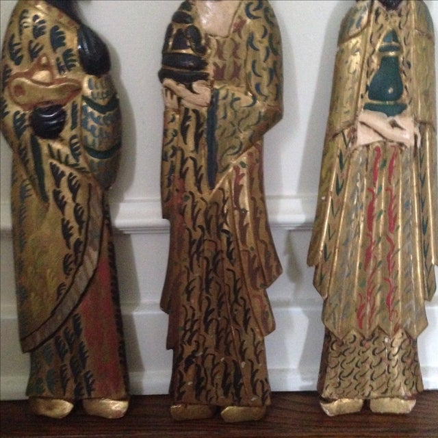 Folk Art Wooden Three Kings Wall Hangings - Set of 3 - Image 9 of 11