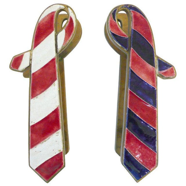 """1940s Pair of French Brass and Ceramic """"Ties"""" Door Pulls For Sale - Image 5 of 5"""