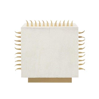 Contemporary Cream Leather End Table With Gold Spikes For Sale