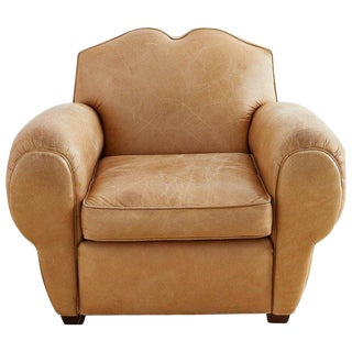 French Art Deco Style Moustache Leather Club Chair For Sale